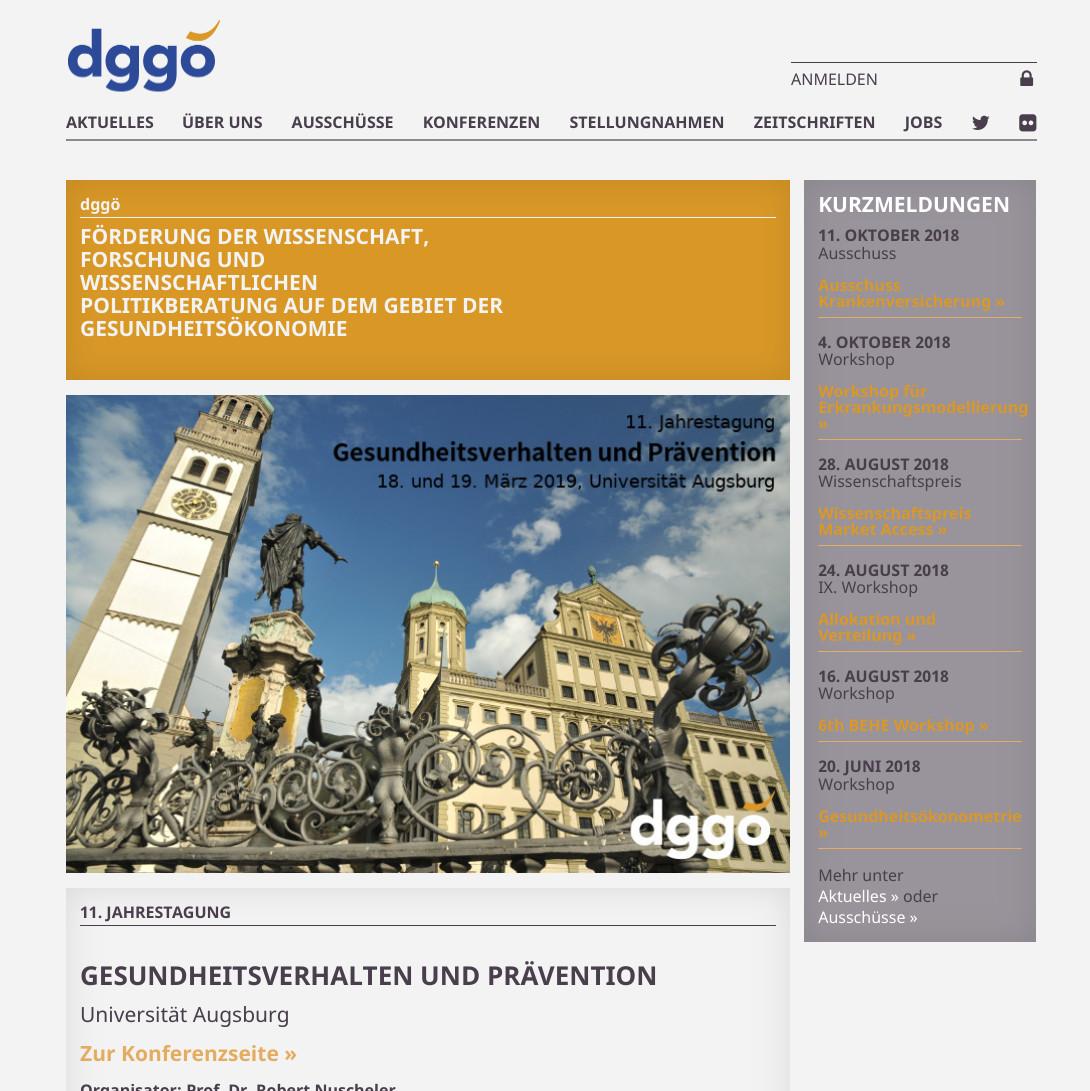 Screenshot Website Deutsche Gesellschaft für Gesundheitsökonomie e.V.