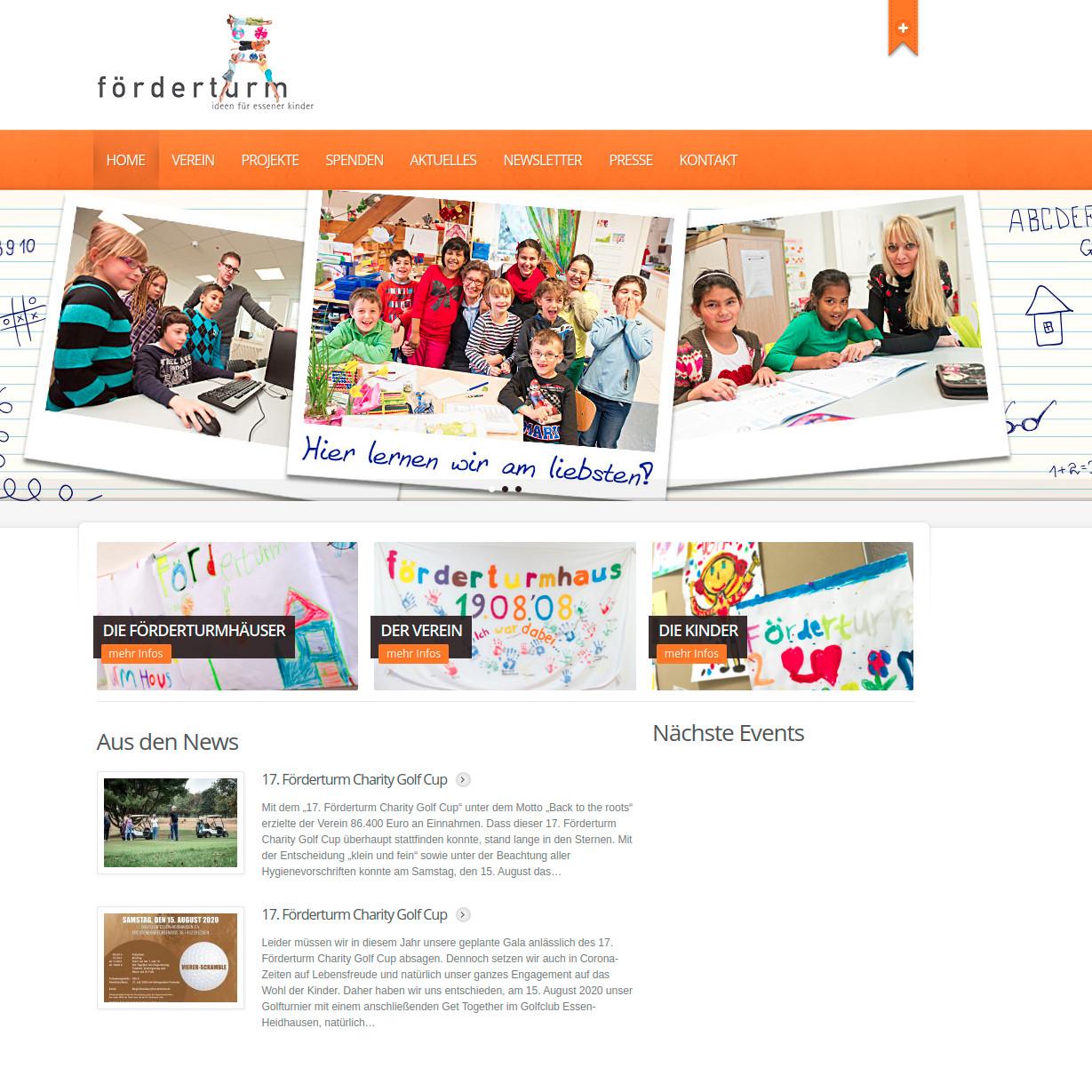 Screenshot Website Förderturmhaus e.V.