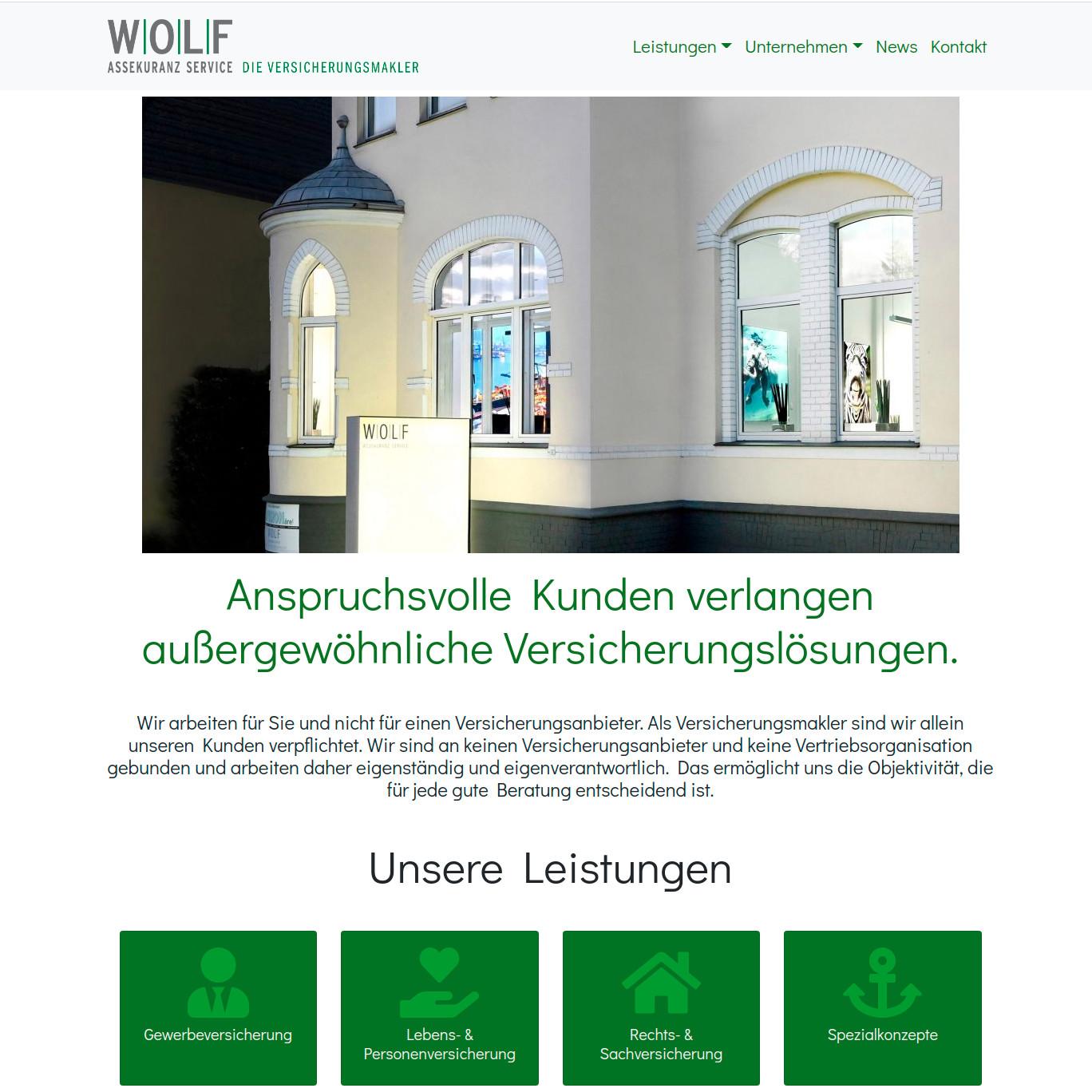Screenshot Website Wolf Assekuranz Service GmbH